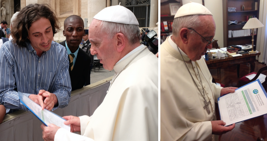 Left: Pope Francis is informed about the petition by GCCM representatives (Tomás Insua from Argentina and Allen Ottaro from Kenya).  Right: Pope Francis with the GCCM petition in his personal office.