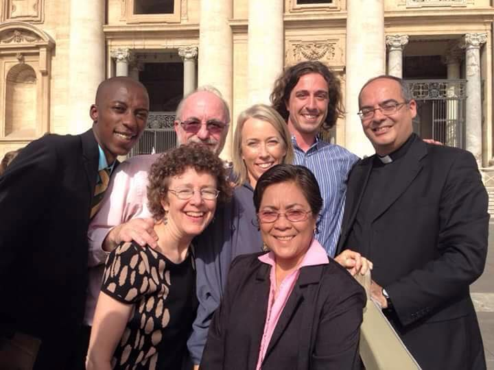 The group of GCCM representatives that met Pope Francis, together with the Pontifical Ceremoniere, Monsignor Karcher.